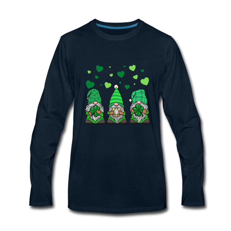 St. Patrick Gnome Hearts Trio Premium Long Sleeve T-Shirt - deep navy