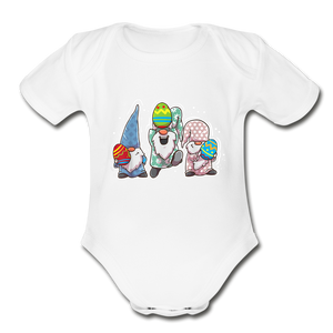 Jumping Easter Gnomes Organic Short Sleeve Baby Bodysuit - white