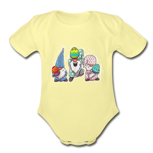 Jumping Easter Gnomes Organic Short Sleeve Baby Bodysuit - washed yellow