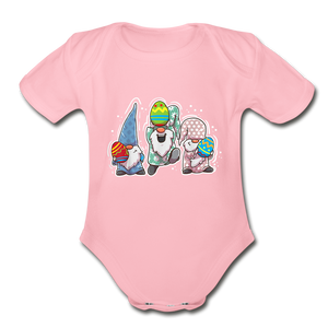 Jumping Easter Gnomes Organic Short Sleeve Baby Bodysuit - light pink
