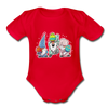 Jumping Easter Gnomes Organic Short Sleeve Baby Bodysuit - red