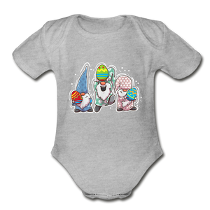 Jumping Easter Gnomes Organic Short Sleeve Baby Bodysuit - heather gray