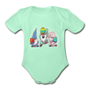 Jumping Easter Gnomes Organic Short Sleeve Baby Bodysuit - light mint