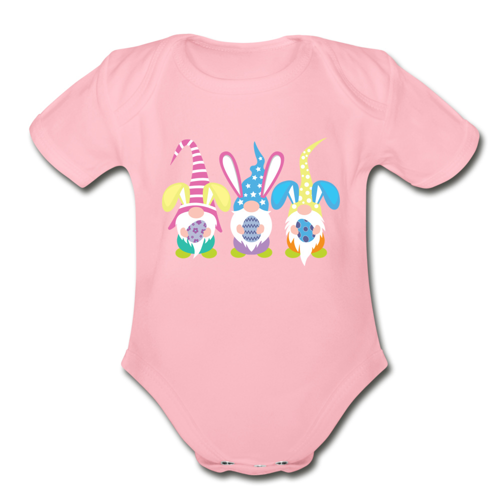 Easter Gnome Trio Organic Short Sleeve Baby Bodysuit - light pink