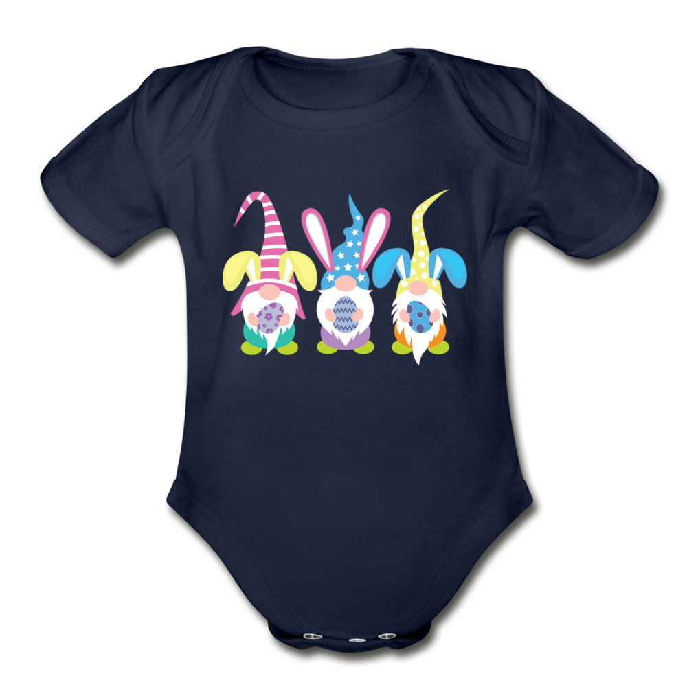 Easter Gnome Trio Organic Short Sleeve Baby Bodysuit - dark navy