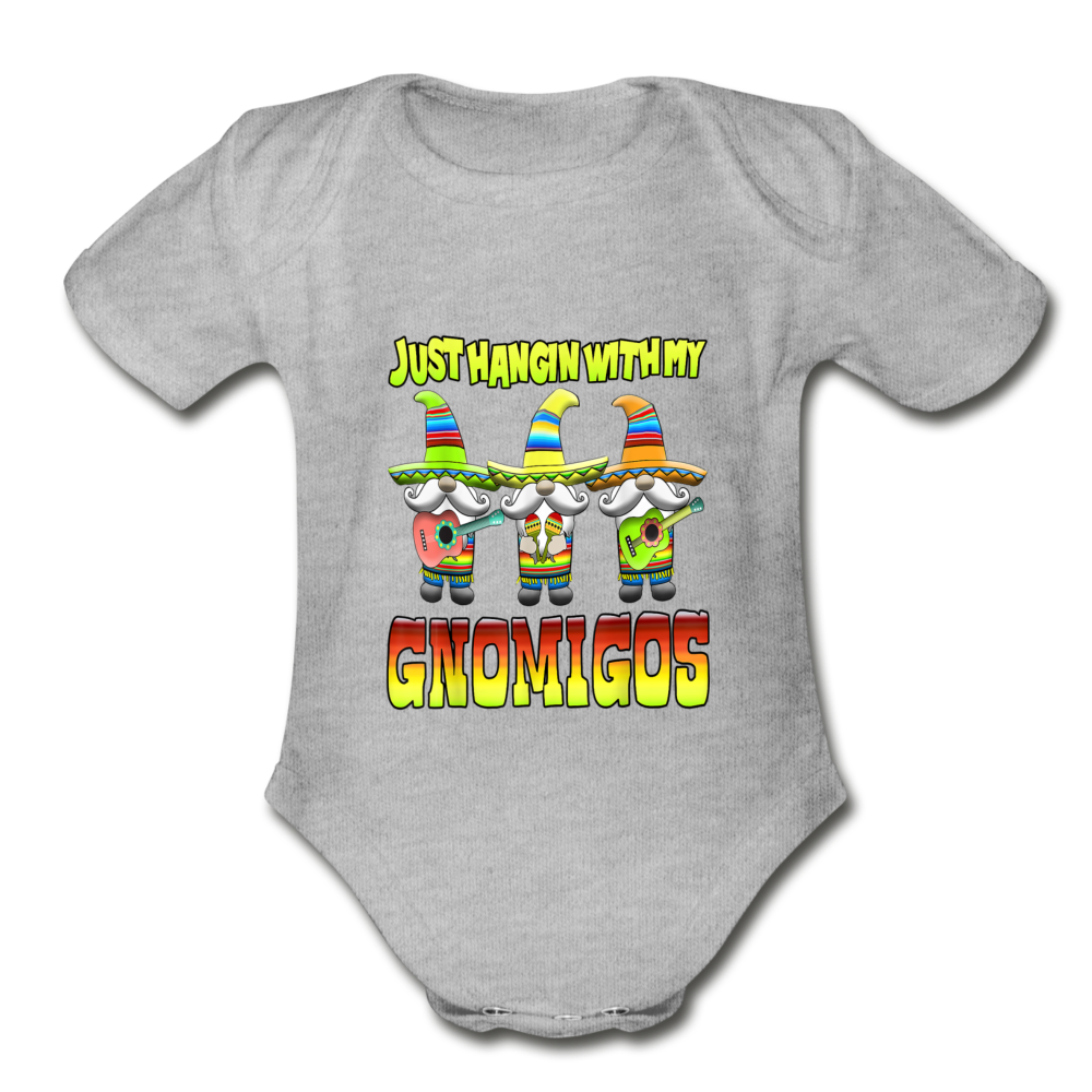 Just Hangin With My Gnomigos Organic Short Sleeve Baby Bodysuit - heather gray