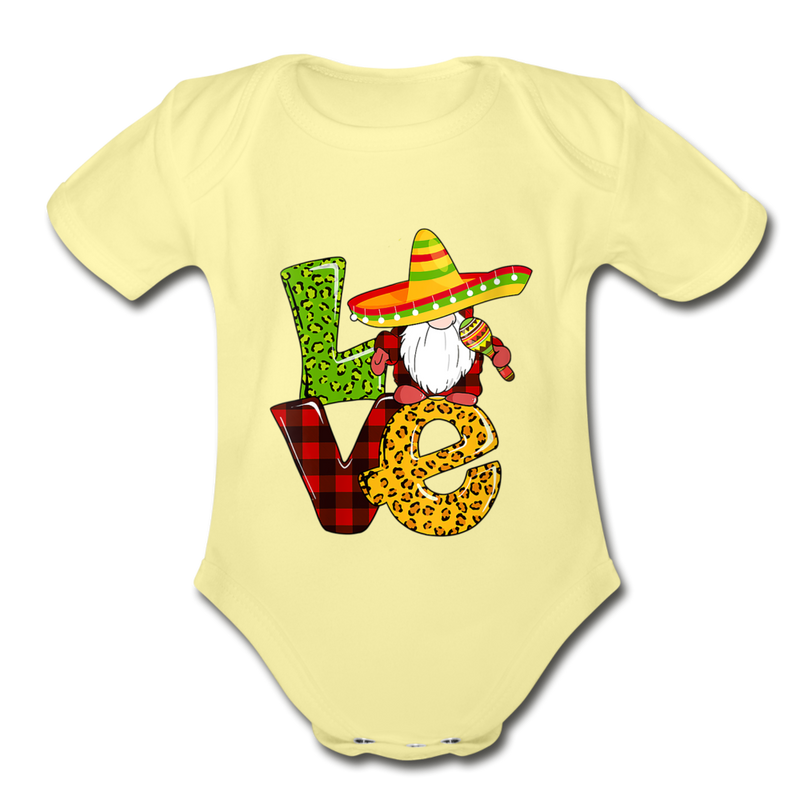 Gnome Love Cinco de Mayo Organic Short Sleeve Baby Bodysuit - washed yellow