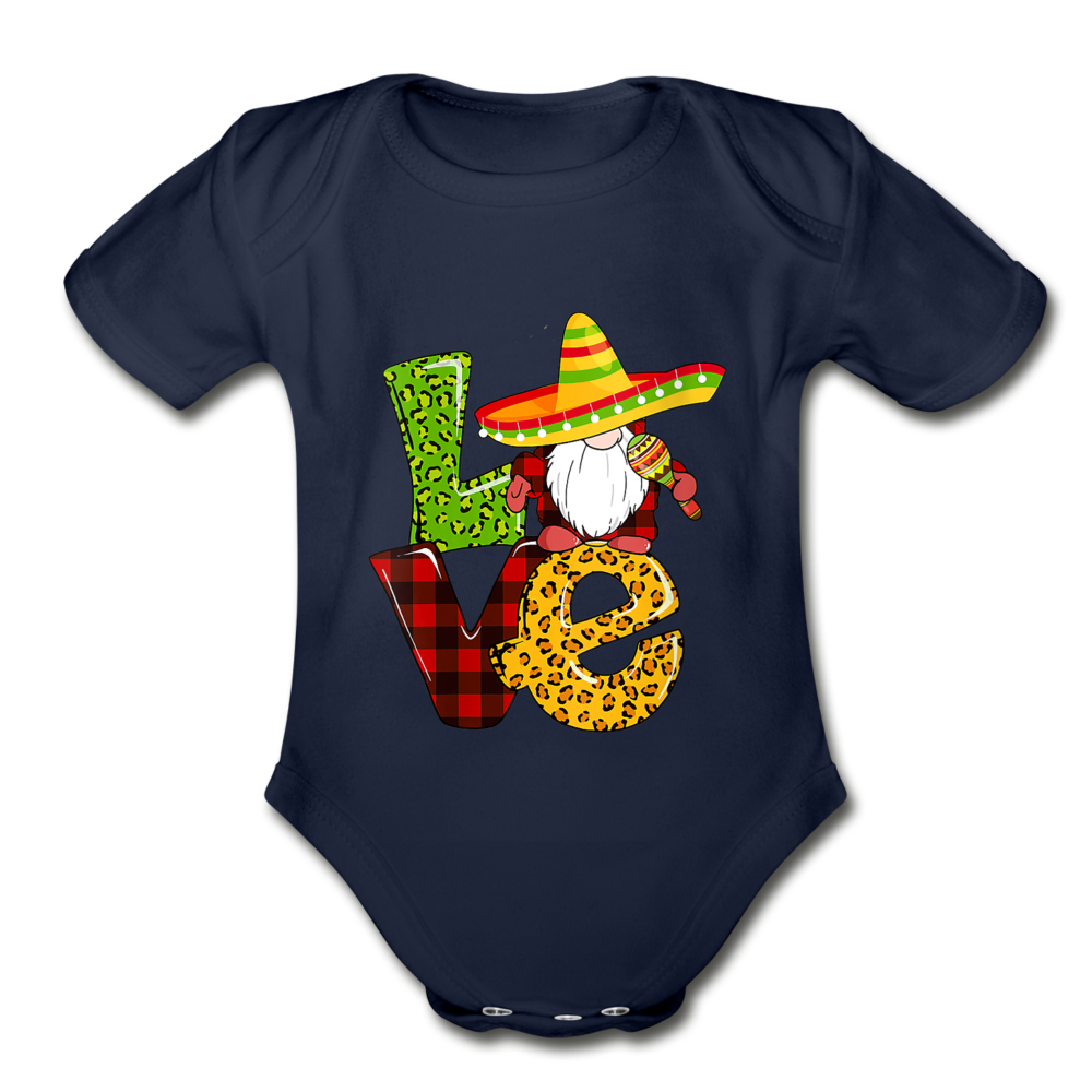 Gnome Love Cinco de Mayo Organic Short Sleeve Baby Bodysuit - dark navy