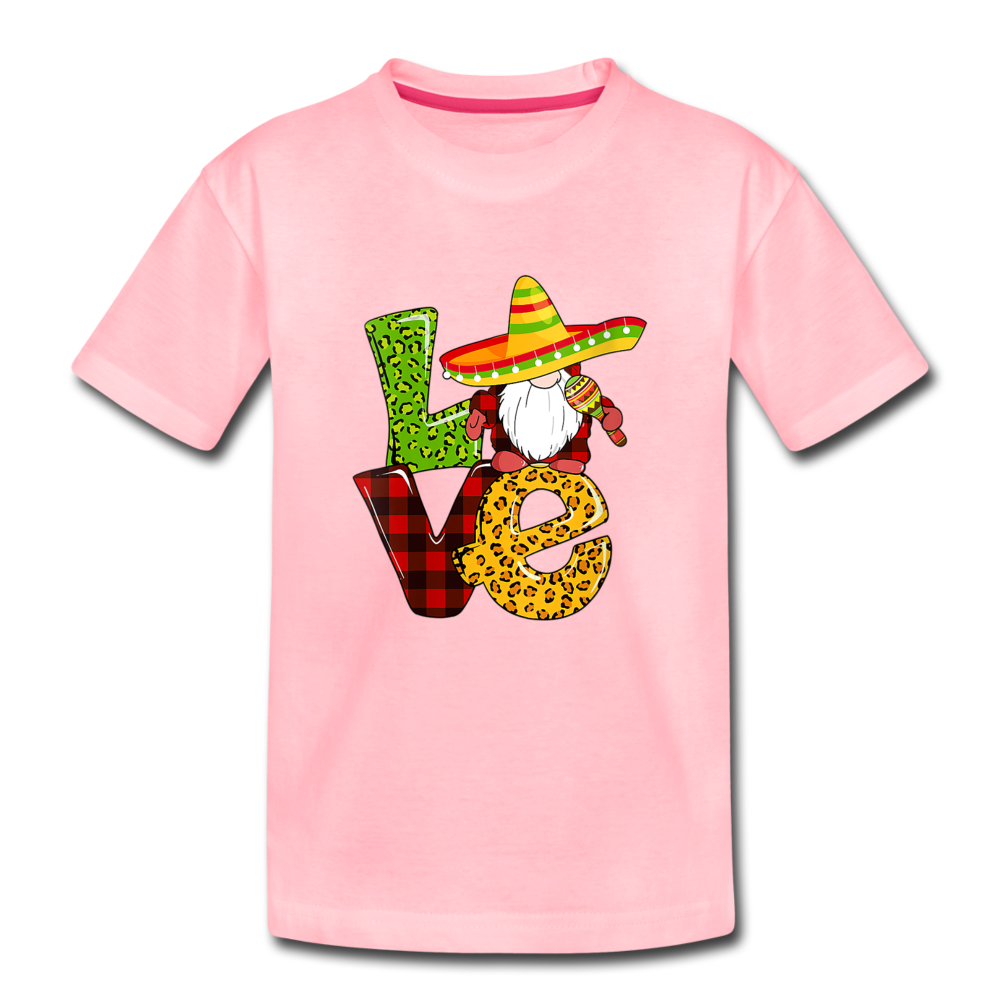 Gnome Love Cinco de Mayo Kids' Premium T-Shirt - pink