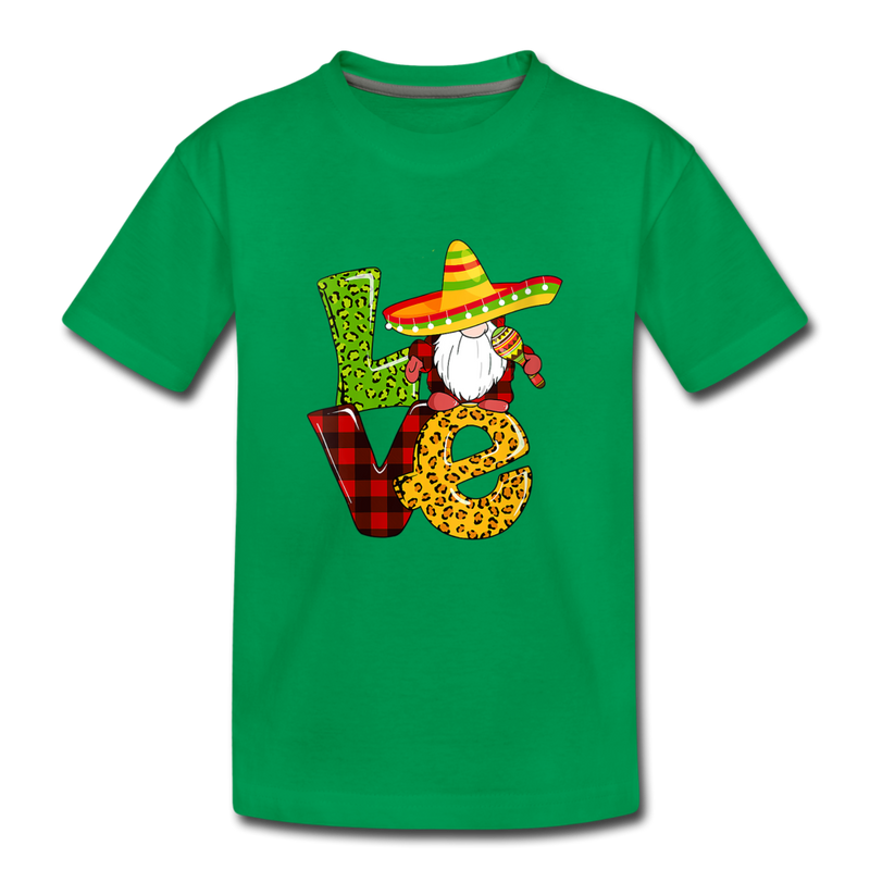 Gnome Love Cinco de Mayo Kids' Premium T-Shirt - kelly green