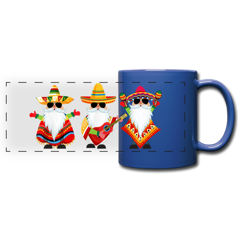 Gnome Sunglasses Cinco de Mayo Full Color Panoramic Mug - royal blue