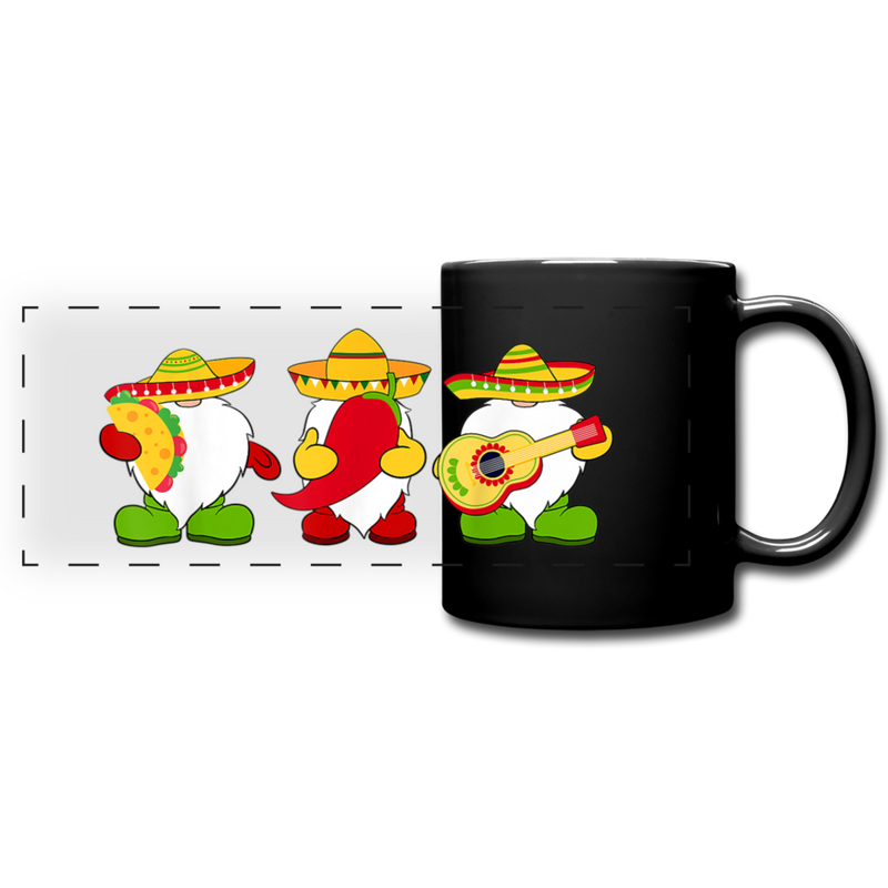 Gnome Cinco de Mayo Trio Full Color Panoramic Mug - black