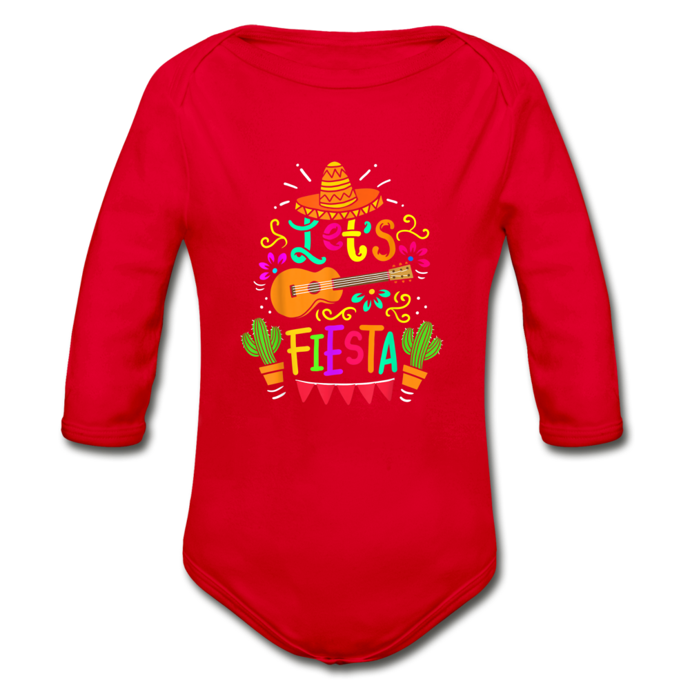 Let's Fiesta Organic Long Sleeve Baby Bodysuit - red