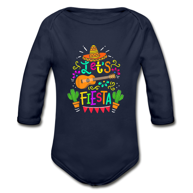 Let's Fiesta Organic Long Sleeve Baby Bodysuit - dark navy