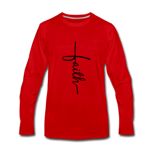 Faith Vertical Premium Long Sleeve T-Shirt - red