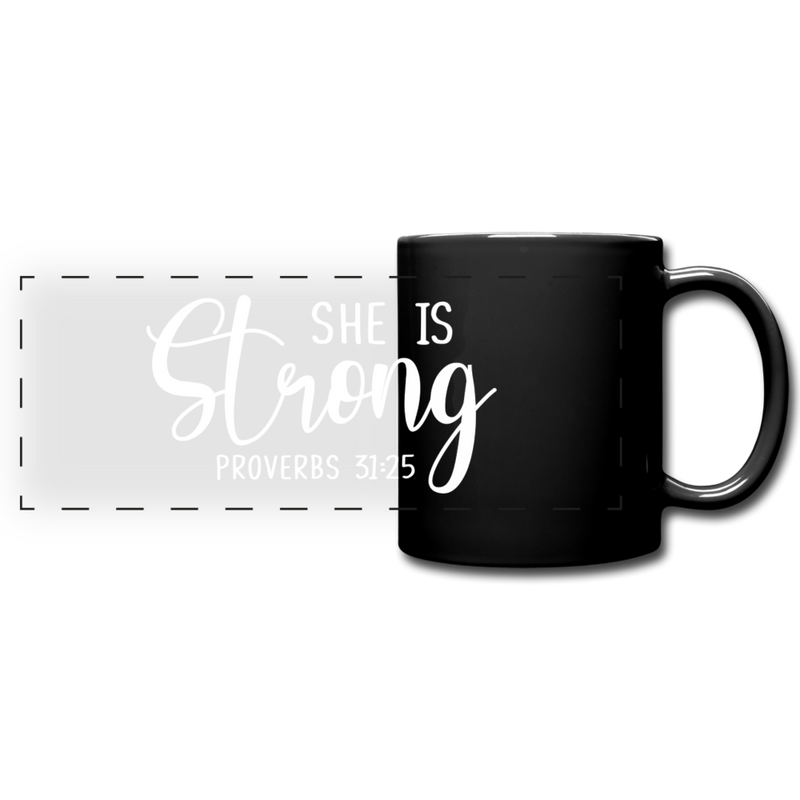 She is Strong Full Color Panoramic Mug - black
