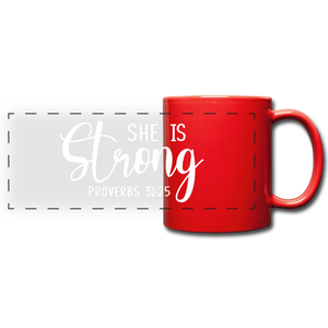 She is Strong Full Color Panoramic Mug - red