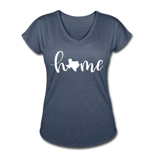 Texas Home Women's Tri-Blend V-Neck T-Shirt - navy heather