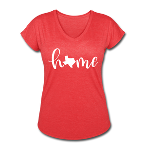 Texas Home Women's Tri-Blend V-Neck T-Shirt - heather red