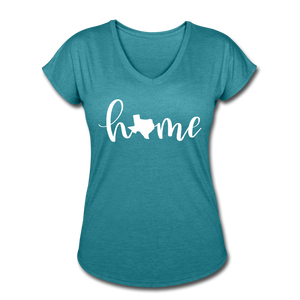 Texas Home Women's Tri-Blend V-Neck T-Shirt - heather turquoise