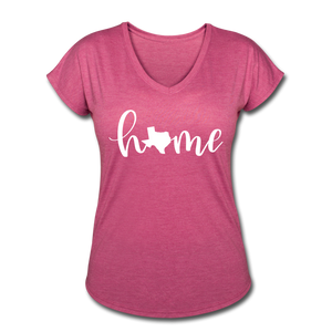 Texas Home Women's Tri-Blend V-Neck T-Shirt - heather raspberry
