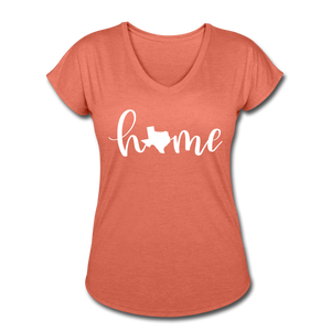 Texas Home Women's Tri-Blend V-Neck T-Shirt - heather bronze