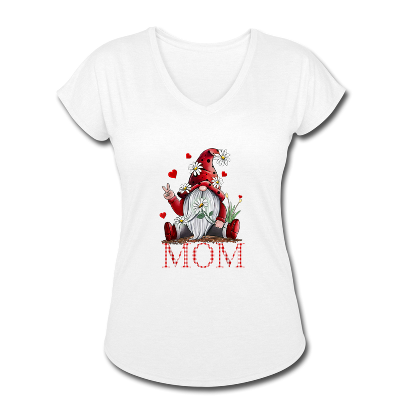 Gnome Mom Women's Tri-Blend V-Neck T-Shirt - white