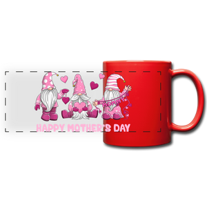 Gnome Mom Trio Full Color Panoramic Mug - red