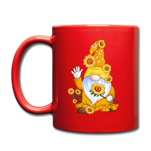 Sunflower Gnome Full Color Mug - red