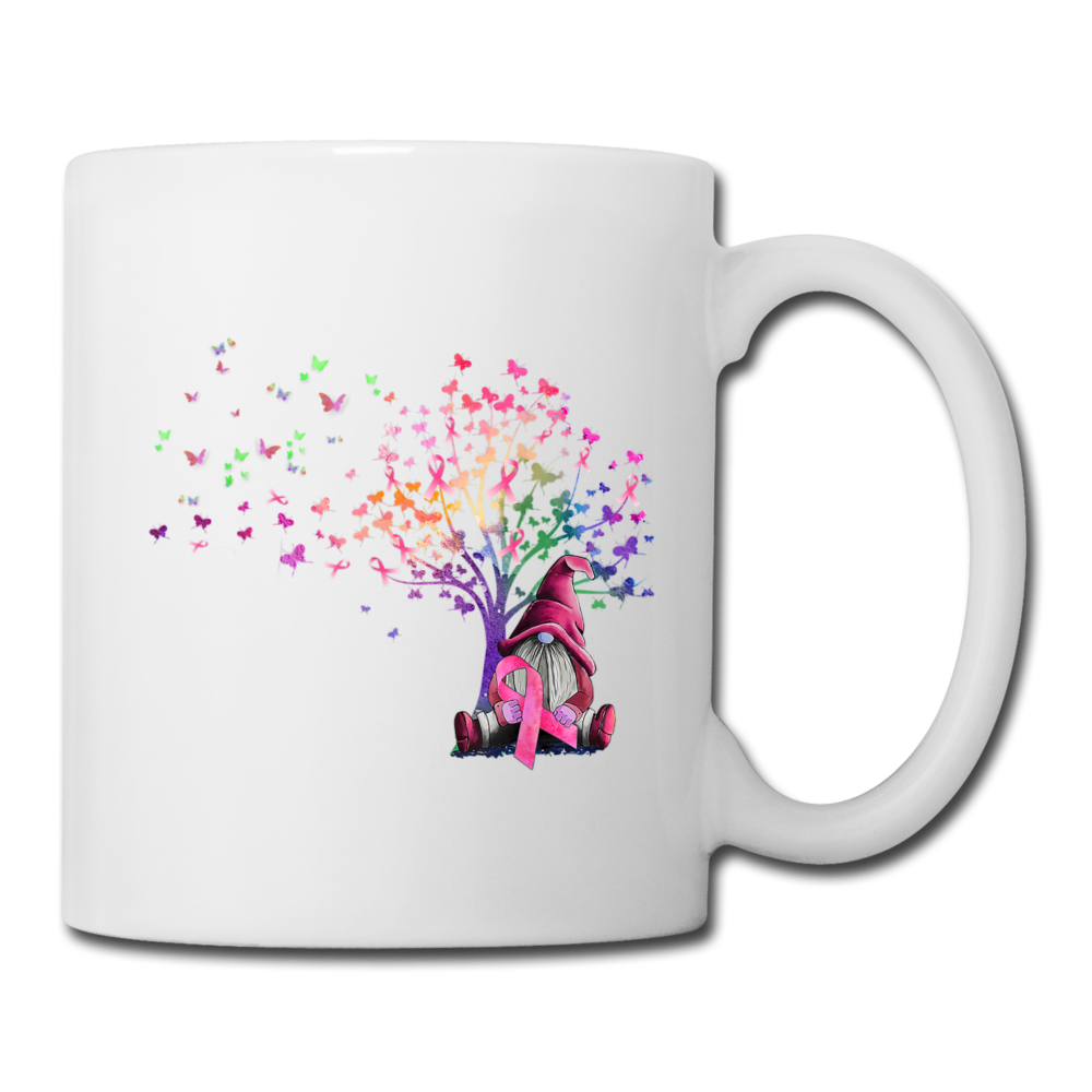 Gnome Pick Ribbon Breast Cancer Awareness Coffee/Tea Mug - white