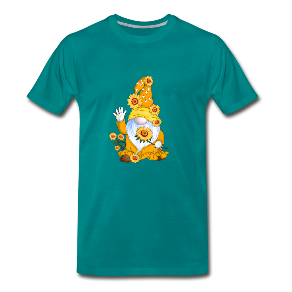 Gnome Sunflower Premium T-Shirt - teal