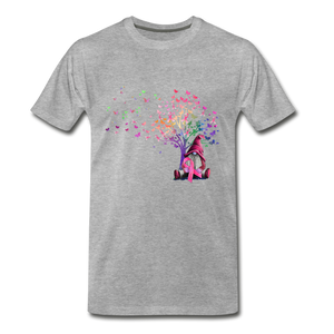 Gnome Pink Ribbon Breast Cancer Awareness Premium T-Shirt - heather gray
