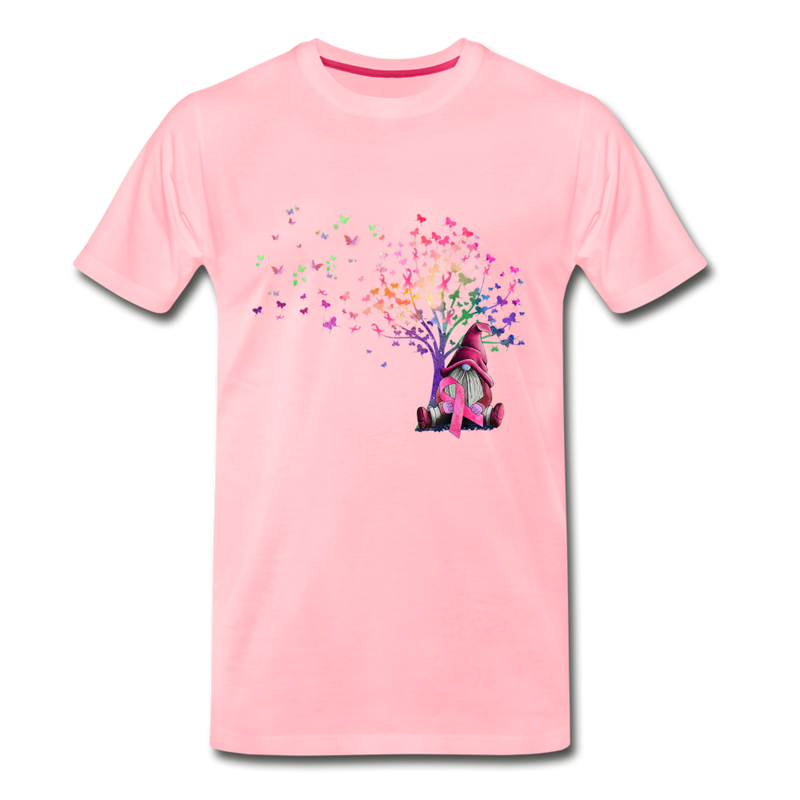 Gnome Pink Ribbon Breast Cancer Awareness Premium T-Shirt - pink