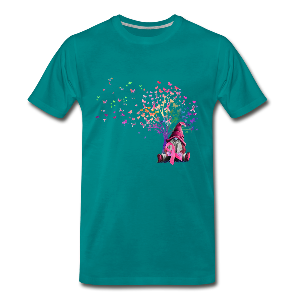 Gnome Pink Ribbon Breast Cancer Awareness Premium T-Shirt - teal