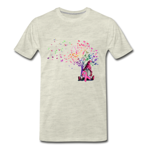 Gnome Pink Ribbon Breast Cancer Awareness Premium T-Shirt - heather oatmeal