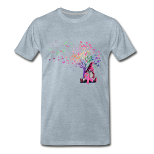 Gnome Pink Ribbon Breast Cancer Awareness Premium T-Shirt - heather ice blue