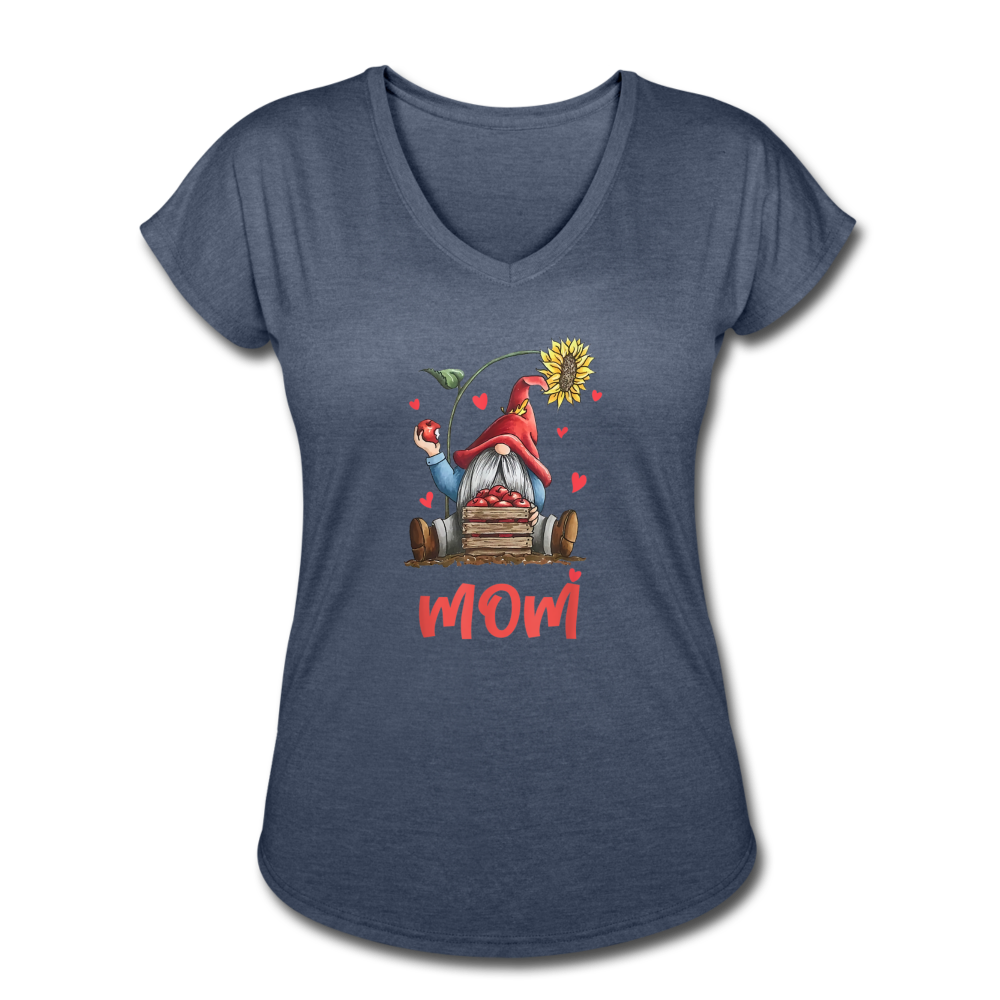 Gnome Mom Sunflower Apples Women's Tri-Blend V-Neck T-Shirt - navy heather