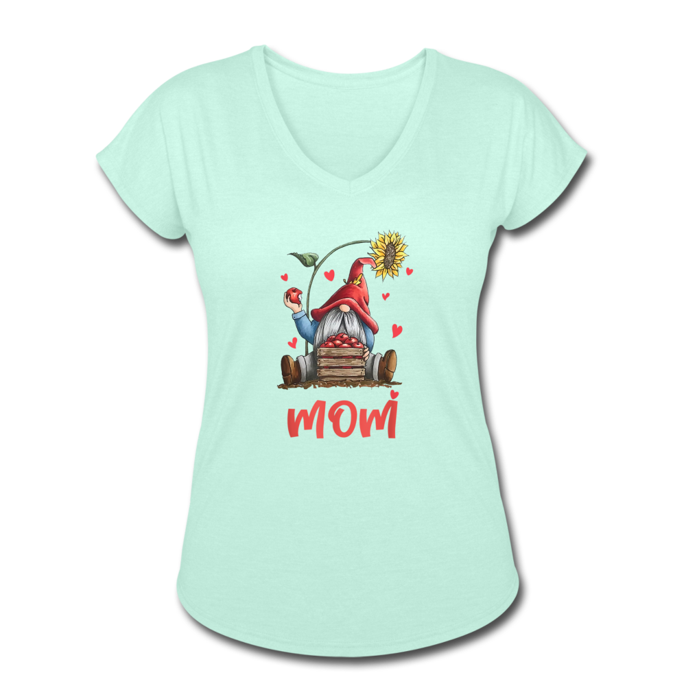 Gnome Mom Sunflower Apples Women's Tri-Blend V-Neck T-Shirt - mint