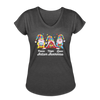 Gnome Peace Hope Love Autism Awareness Women's Tri-Blend V-Neck T-Shirt - deep heather