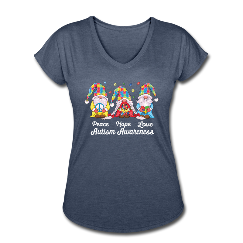 Gnome Peace Hope Love Autism Awareness Women's Tri-Blend V-Neck T-Shirt - navy heather