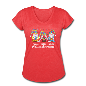 Gnome Peace Hope Love Autism Awareness Women's Tri-Blend V-Neck T-Shirt - heather red