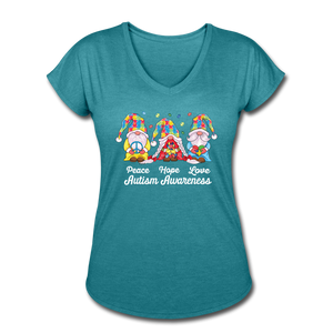 Gnome Peace Hope Love Autism Awareness Women's Tri-Blend V-Neck T-Shirt - heather turquoise