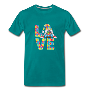 Gnome Love Autism Awareness Premium T-Shirt - teal