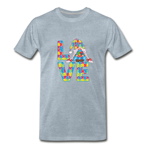 Gnome Love Autism Awareness Premium T-Shirt - heather ice blue