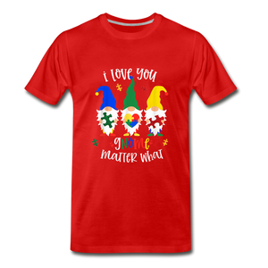 I Love You Gnome Matter What Autism Awareness Premium T-Shirt - red