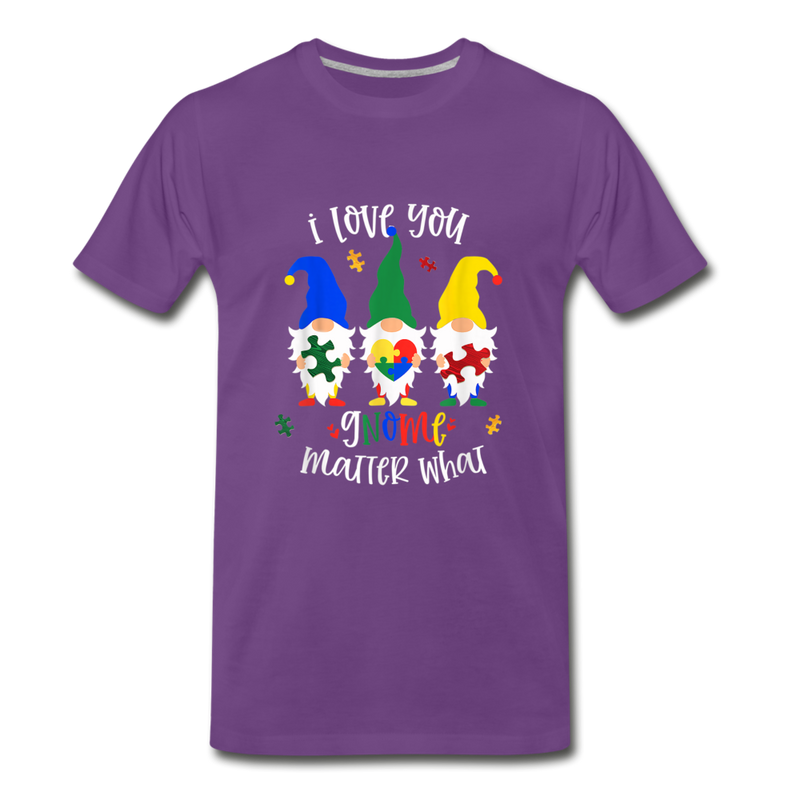 I Love You Gnome Matter What Autism Awareness Premium T-Shirt - purple