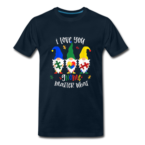 I Love You Gnome Matter What Autism Awareness Premium T-Shirt - deep navy