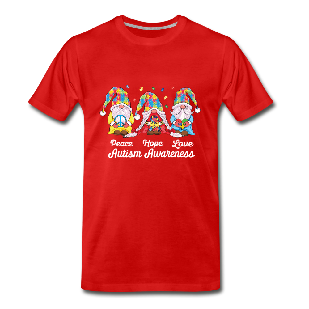 Gnome Peace Hope Love Autism Awareness Premium T-Shirt - red