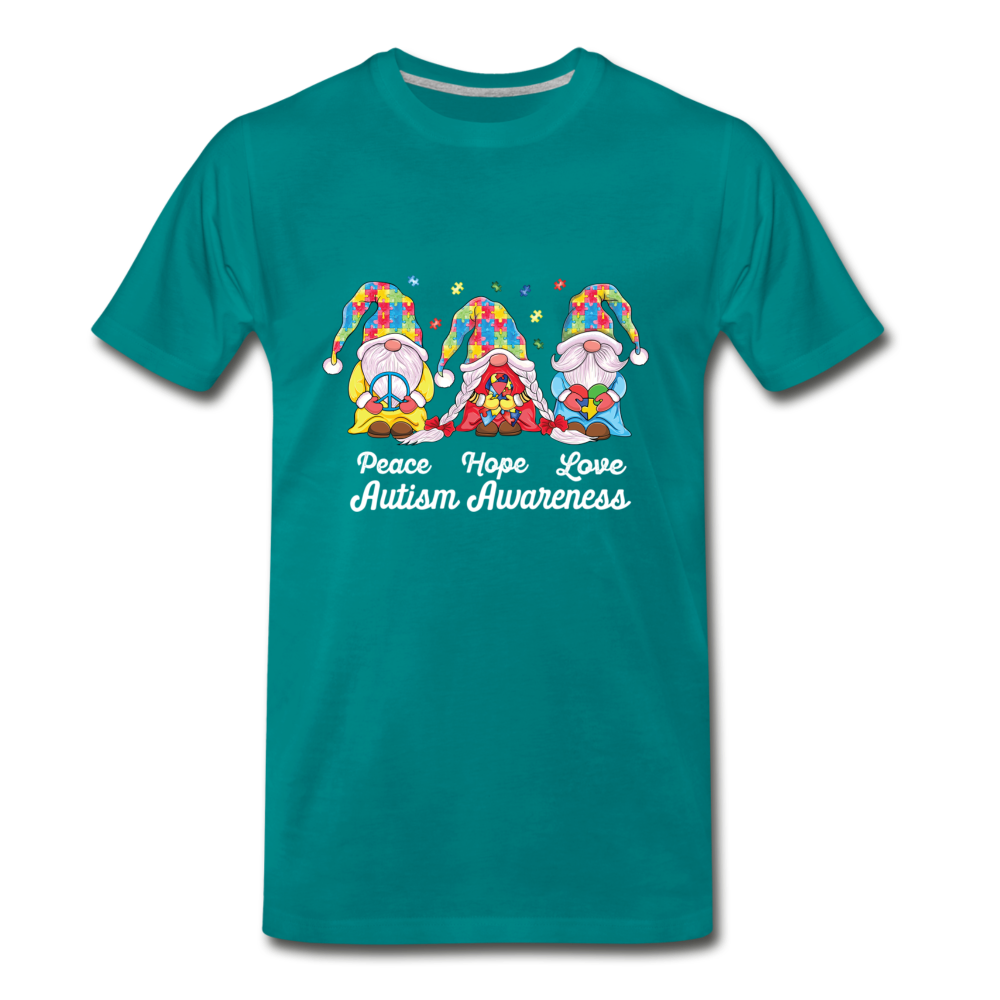 Gnome Peace Hope Love Autism Awareness Premium T-Shirt - teal