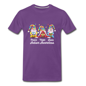 Gnome Peace Hope Love Autism Awareness Premium T-Shirt - purple